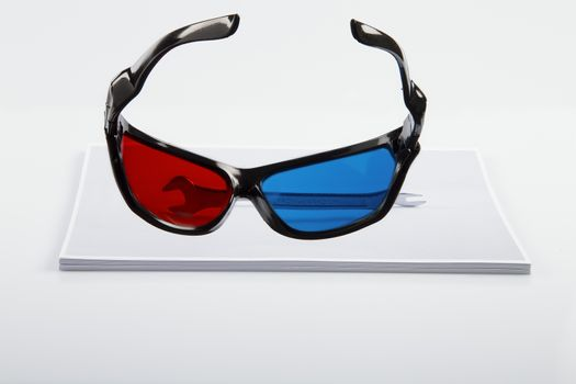 3D Print: black 3D anaglyphic Red Blue glasses and paper printed wrench