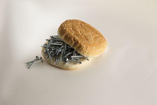 Fast food sesame bread  with screws