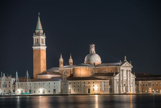 Night view of San Giorgio Cathedral and Tower, Venice