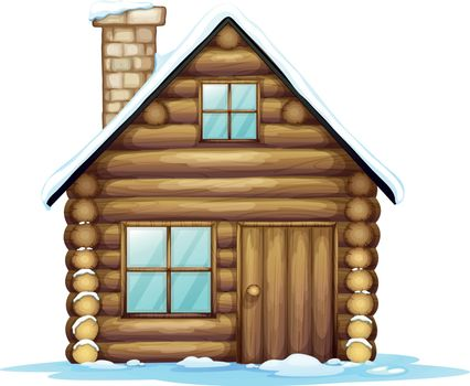 illustration of a house and ice on a white background