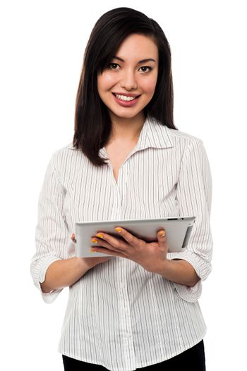 Young Woman Holding Digital Tablet