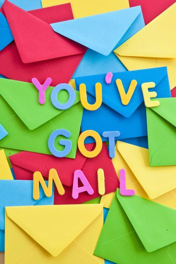 Multi colored envelopes and letters