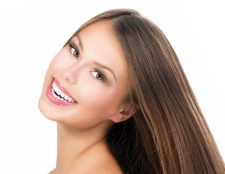 Beauty Girl Face. Beautiful Teenage Model Girl Portrait