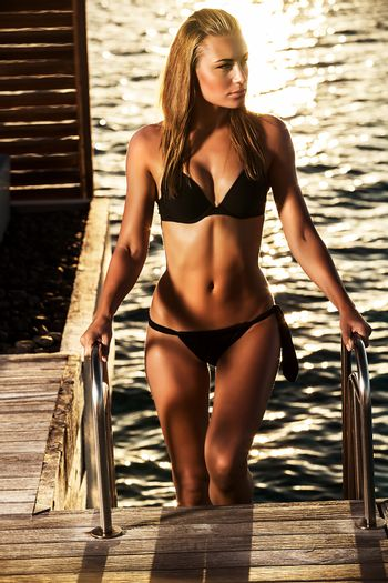Sexy woman on the sea