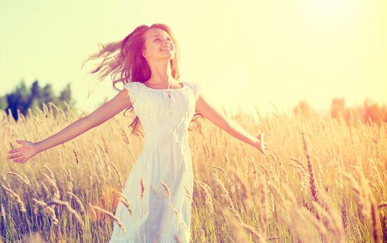 Beautiful Teenage Girl Outdoors Enjoying Nature