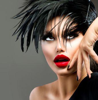 Fashion Art Portrait Of Beautiful Girl. Hairstyle. Punk Model