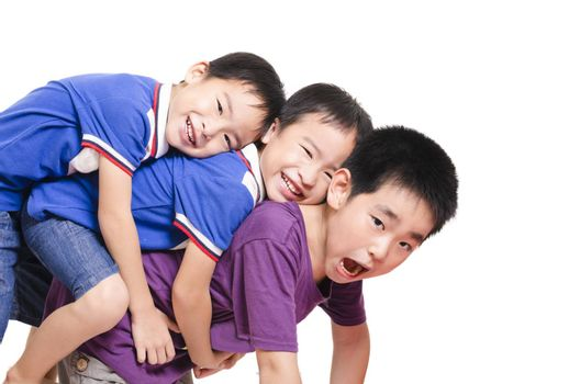 Three kid stack together