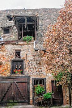 Facade of rustic farmhouse in Alsace