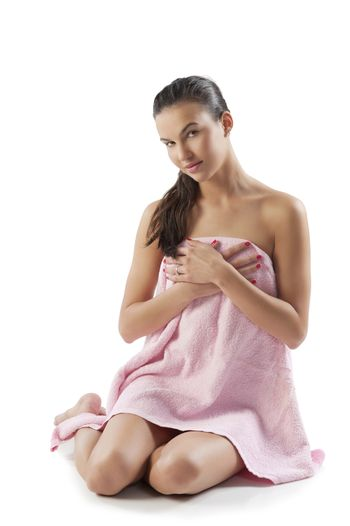 beauty model with pink towel