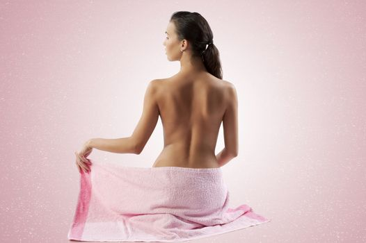 cute brunette with pink towel
