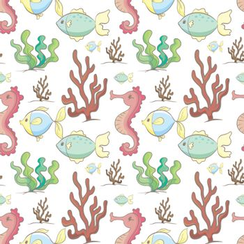 illustration of sea animals and plants on a white background