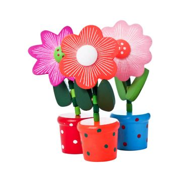 Three floppy Wooden Flower Toys isolated on white