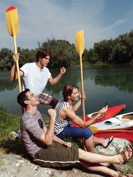 friends having fun near river, happy people