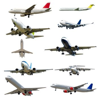 Plane collection isolated on a white background. High resolution