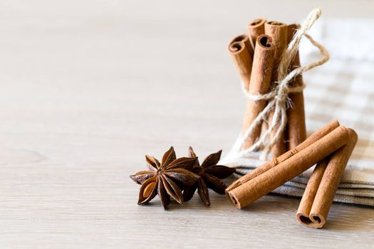 anise and cinnamon, on wooden table