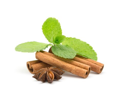 Mint with cinnamon on wood background