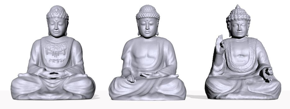 Three grey buddhas isolated in white background