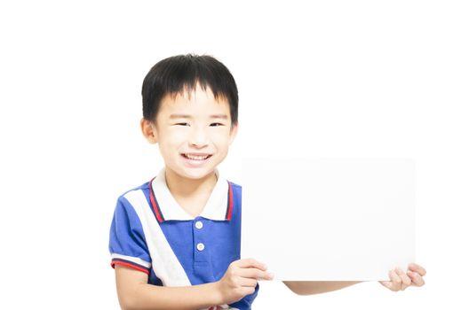 Smart child holding white paper