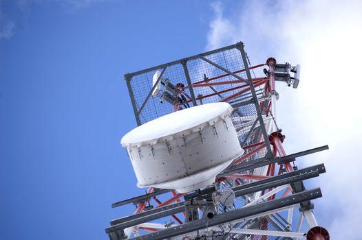 Communication antenna on a mdia tower