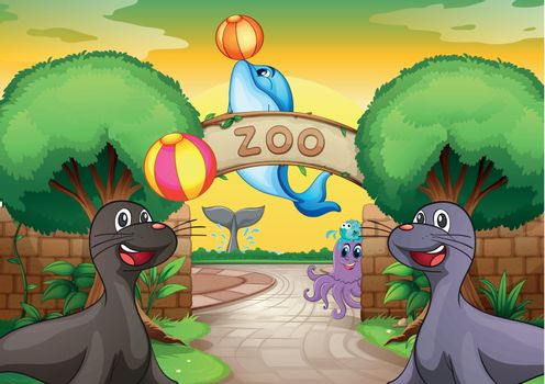 illustration of sea animals in zoo in a beautiful nature
