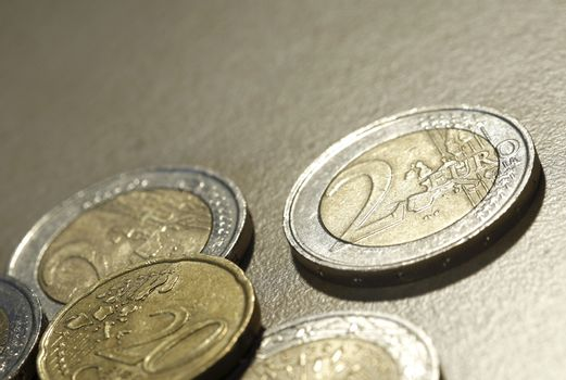 Close up photo of many romanian coins