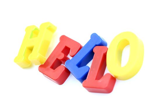 """Close-up of letters. """"Hello"""" word."""