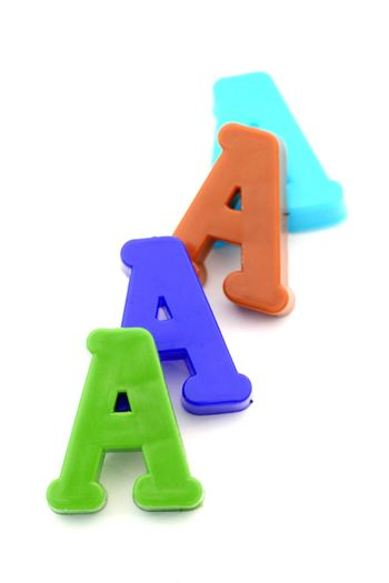 "Close-up of letters. ""A"" letters line."
