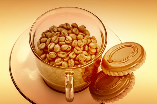 Cup with coffee grain and chocolatte