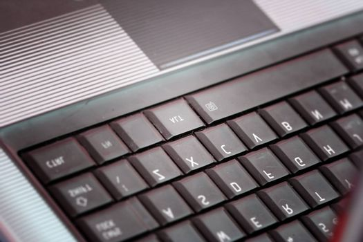 Closeup of modern and stylish laptop.