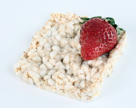 Healthy breakfast with ricebread and strawberry.