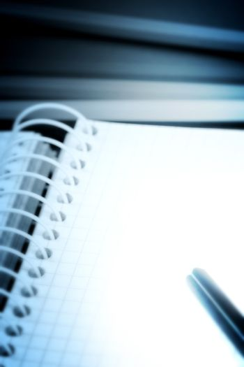Close-up of pencils and agenda with copy-space.