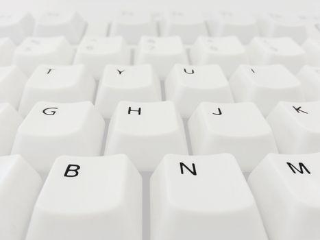 White keyboard close up