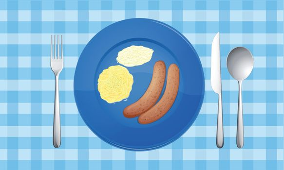 illustration of food on a blue background
