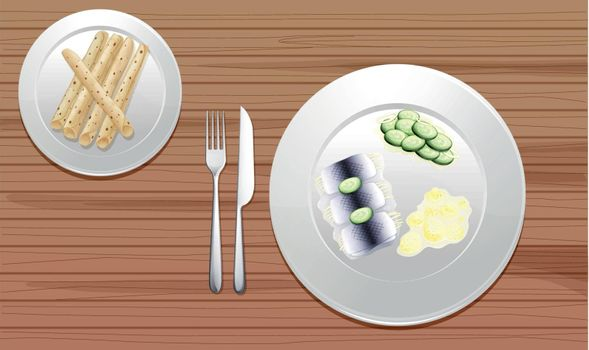 illustration of food on a wooden background