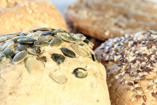 Assortment of baked bread with seeds