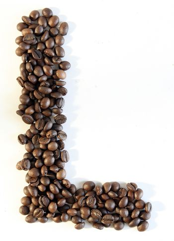 Letter made from coffee beans