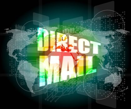 direct mail word on digital touch screen