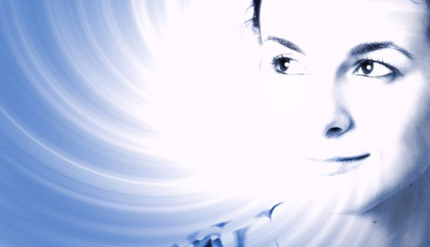 Woman face over ray of light background.