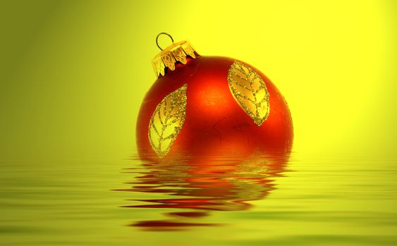 Great RED christmas globe - in water