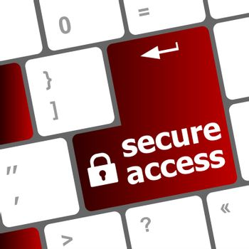 secure access, close up view on conceptual keyboard, Security key