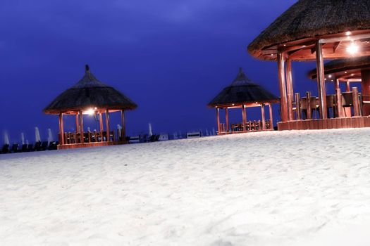 Restaurant on the beach at night