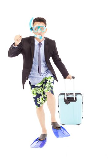 funny businessman put on scuba gear and holding a baggage