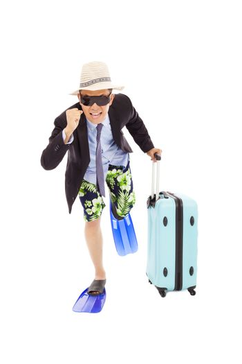 businessman holding a baggage  to  run