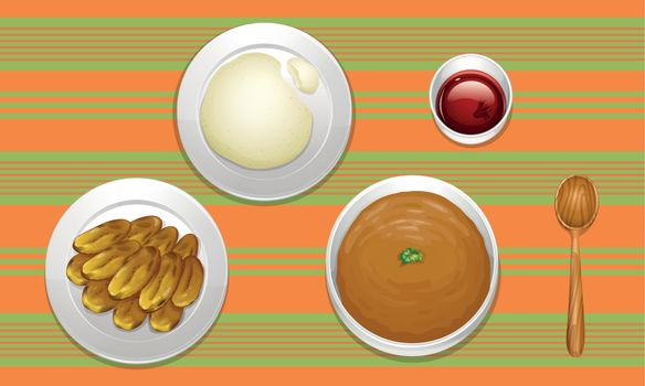 illustration of food on a colored background