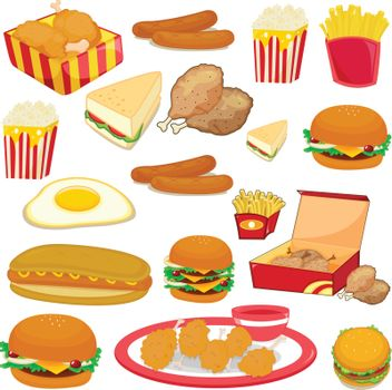 illustration of food on a white background