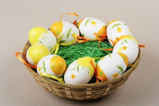 Painted easter eggs  in basket.