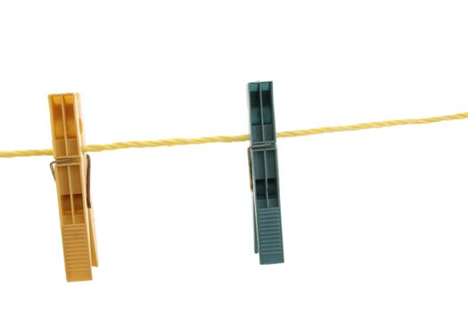 close up of clothespins on a line