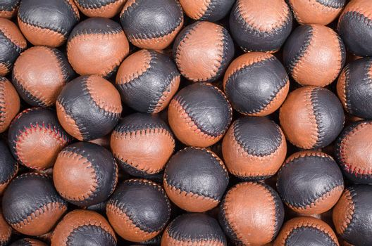 Traditional handmade leather balls as used in pelota and jai alai games