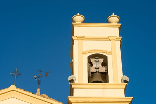 Detail take of a traditional Mediterranean belfry