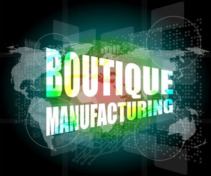 words boutique manufacturing on touch screen technology background